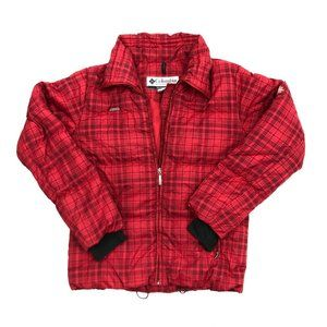 Womens Columbia Red Plaid Down Puffer Jacket Coat